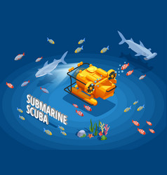 Submersible vessel isometric background vector
