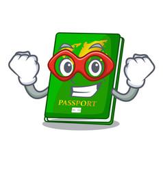 Super hero green passport in the cartoon shape vector