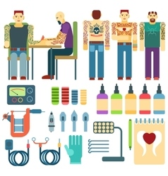 Tattoo kit and equipment people studio ink art vector image