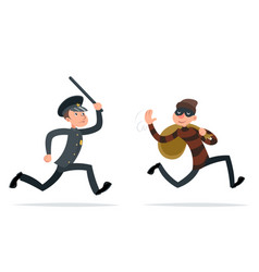 Thief escape loot policeman run character retro vector