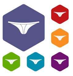 thongs icons set hexagon vector image vector image