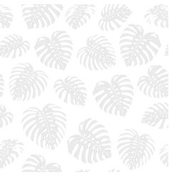 Tropical repeat pattern with gray monstera leaves vector