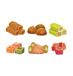 Turkish delights or arabic sweets with famous vector