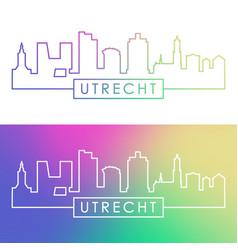 utrecht skyline colorful linear style editable vector image