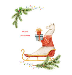 Watercolor christmas card llama or alpaca vector