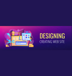 Web development header or footer banner vector