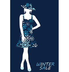 Winter sale with woman silhouette in snowflakes vector image