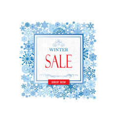 Winter shopping sale banner with lettering snow vector