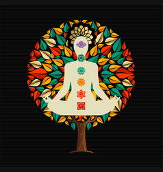 yoga tree concept with woman in lotus pose vector image