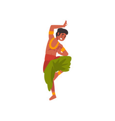 Young indian man performing folk dance in vector