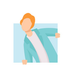 young man looking out of a square window vector image