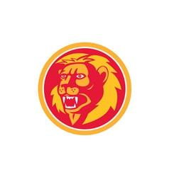 Angry Lion Head Roar Circle Retro vector image vector image
