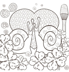 Cute snails adult coloring book page vector image vector image