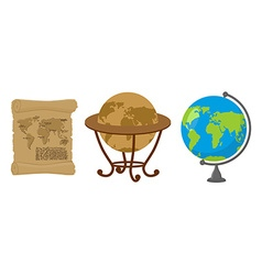 Map of world Set of map Earth Ancient scroll with vector image vector image