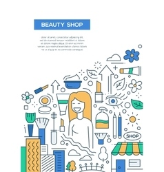 Beauty Shop - line design brochure poster template vector image