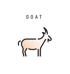 goat web line icon vector image vector image