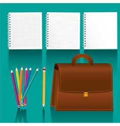 Study elements icons with shadow on turquoise back vector