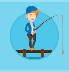 woman fishing on jetty vector image