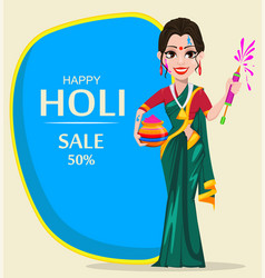 beautiful indian woman holding pot with colored vector image