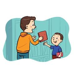 Borrowing A Book vector image