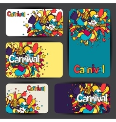 Carnival show cards with doodle icons and objects vector image vector image