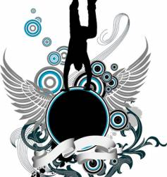 dancing man and wing banner vector image
