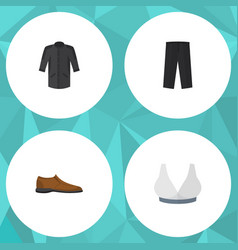 Flat icon garment set of uniform pants male vector