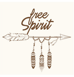 free spirit arrow with fearthers vector image vector image