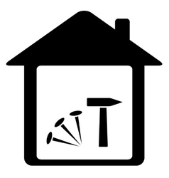 icon with nails hammer and home vector image