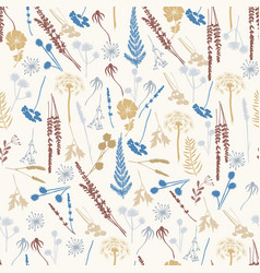 seamless pattern with wild flowers fern leaves vector image