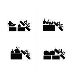 set black gift icons open food gift box vector image vector image