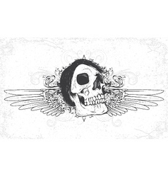 skull with grunge and wings vector image