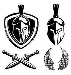 spartan helmet shield sword wings vector image vector image