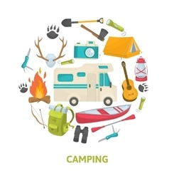 Tourist Camping Decorative Icons Set vector image