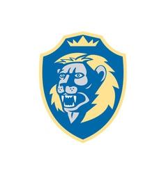 Angry Lion Head Roar Shield Retro vector image vector image