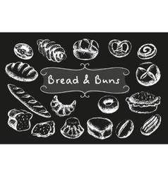 Chalk bakery food set vector image vector image