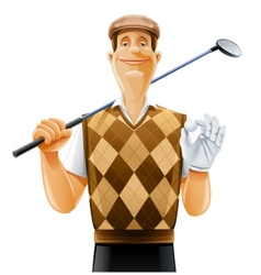 golf player with club and ball vector image