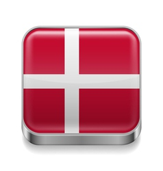 Metal icon of Denmark vector image vector image