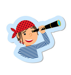pirate with spyglass isolated sticker vector image vector image