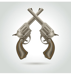 revolver gun weapon element vector image