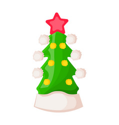 santa claus hat in form of green christmas tree vector image