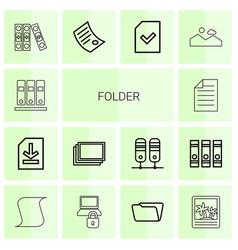 14 folder icons vector image