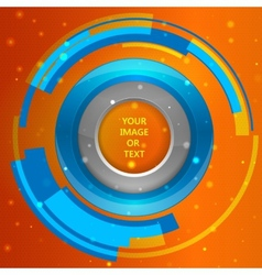 3D tech circle frame on a orange background vector