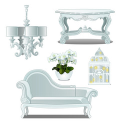 A set of furniture white color for vintage vector