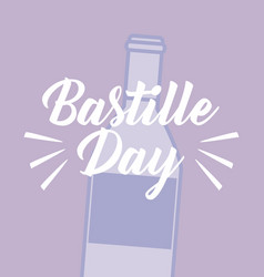 Bastille day celebration card with wine vector
