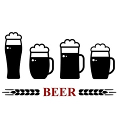 beer mug with foam set vector image