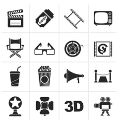 Black Cinema and Movie icons vector image