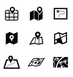 black map icon set vector image