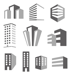 Building real state icons set vector image