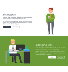 businessman with successful man in office design vector image